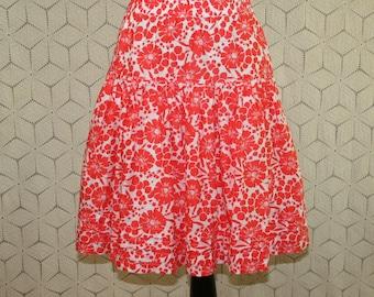 Cotton Skirt Full Skirt Floral Skirt Casual Midi Peasant Skirt Coral Orange White Print Skirt Womens Skirts XS Small GAP Womens Clothing
