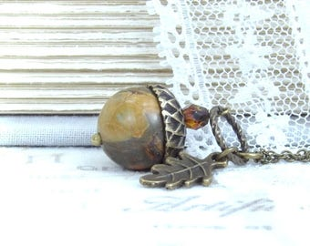 Stone Acorn Necklace Fall Necklace Earth Tone Necklace Acorn Jewelry Jasper Necklace Autumn Necklace