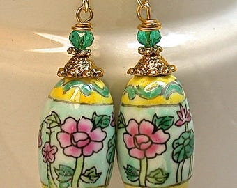 Vintage Chinese Porcelain Aqua Blue Pink Flowers Bead Dangle Earrings ,Vintage Teal Green Crystal Beads, Gold French Ear Wires