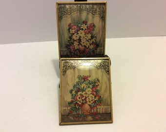 Vintage Tin Framed Pictures, Set of 2, Shabby Chic Lithographs, Floral Wall Decor