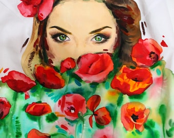Custom Portrait Blouse - PAINTINGS you can wear by Irina MADAN / 100% Hand Painted Blouse