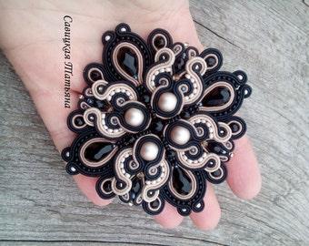 Royal Black Beige Soutache Brooch - Hand Embroidered Soutache Jewelry - Black Beige Soutache - Soutache Brooch - Statement Jewelry