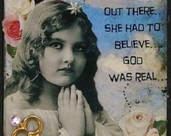 GOD WAS REAL altered art collage therapy recovery ACeO ATc PRiNT