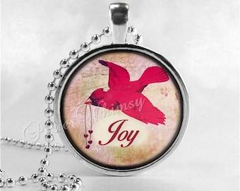 CARDINAL Pendant, Cardinal Necklace, Cardinal Jewelry, Red Bird, Joy, Inspirational Word Necklace, Glass Photo Art Necklace, Cardinal Bird