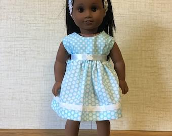 "18"" doll , 18 inch doll dress , AG Doll, Blue And White Polka Dot Dress with Headband- 18 inch Doll Dress"