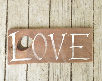 Love Sign - Hand Painted Calligraphy on Reclaimed Barn Wood (small)