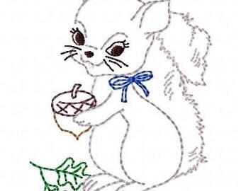 Baby Squirrel Machine Embroidery Design 4x4