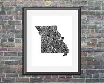 Missouri typography map art unframed print customizable personalized state poster custom wall decor engagement wedding housewarming gift
