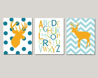 Deer Nursery Wall Art Set of 3 Prints for Woodland Nursery Decor - Chevron Deer, Alphabet, Polka Dot Deer - CHOOSE YOUR COLORS