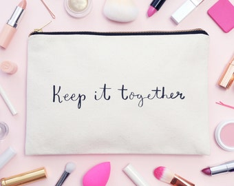 Makeup Organizer Pouch - Cosmetics Pouch - Makeup Brush Holder - Lipstick Holder - Keep it Together Canvas Pouch - Alphabet Bags