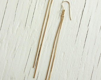 Gold Chain Earrings - Long & Simple - 14kt Gold Filled