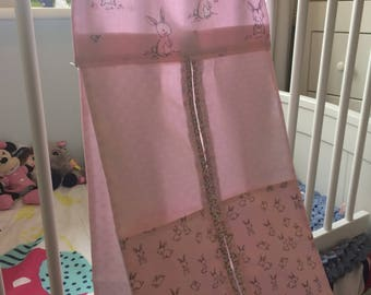 Pink with Rabbits Nappy Stacker/Toy Storage for a girl.