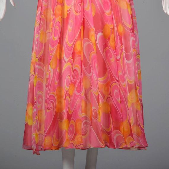 Dress Dress 1970s Formal Swirl Prom 70s Long Flowy Yellow Orange Gown Medium Maxi Sleeve Chiffon Psychedelic Evening Dress Pink Vintage xE8wU0nqpC