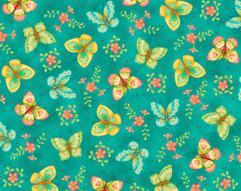 All a Flutter  Butterflies Teal Fabric