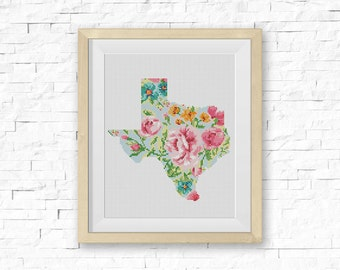 BOGO FREE! Texas Cross Stitch Pattern, Floral TX Silhouette Map Flowers Counted xStitch, Modern Wall Decor, pdf Instant Download #039-4-1