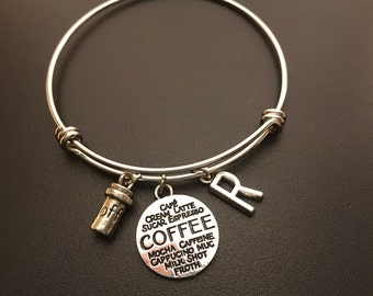 Personalized Charm Barista COFFEE LOVER Bangles Bracelets Gifts For A Coffee Lover Barista Coffee Latte Charm Personalized Jewelry