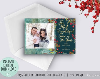 Editable pdf Christmas photo card template, diy personalized card, gold, wonderful time of the year, printable editable holiday card. C043