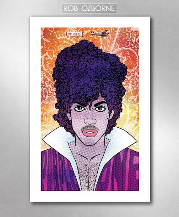 PURPLE ONE Prince Loves You Pop Music Tribute Art Print 11x17 by Rob Ozborne