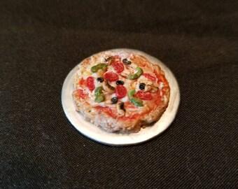 """Dollhouse miniature Supreme Pizza 1"""" scale."""