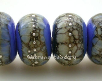 Handmade Lampwork Glass Bead Set - DARK PERIWINKLE Blue Granite taneres - glossy or matte - silvered ivory - fine silver droplets