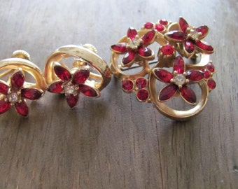 Vintage Brooch And Screw Back Earrings In Ruby Red And Gold Tone