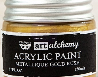 Finnabair Art Alchemy Metallique Prima Metallic Acrylic Paint 1.7 oz  GOLD RUSH #963071