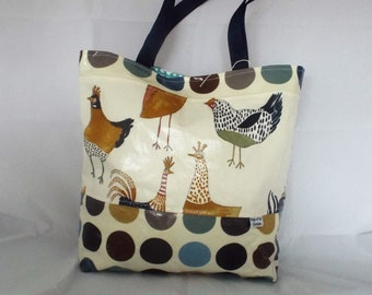 Chicken Oilcloth Tote Bag, chicken tote, oilcloth tote, tote, bagsoffuncreations,shopping bag,beach bag,hens,waterproof ,top handle bag 0323