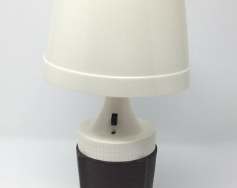 Camping Lantern, Vintage, Retro, Table Lamp 6 Volt Plastic Portable Light, Brown