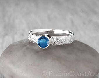 Silver Blue Zircon Ring -  Sterling Silver - Handcrafted Blue Zircon Ring - December Birthstone Ring