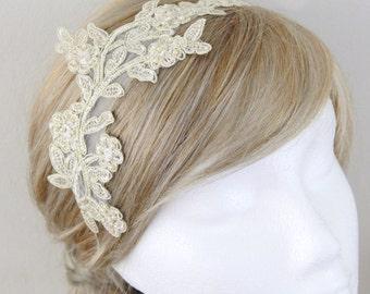 Light Gold Pearl Beaded Lace Headband, Bridal Champagne Headband, Light Gold Lace Head Piece, Light Gold Hair Band