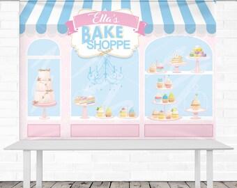 Bake Shop Birthday Backdrop - Personalized - 8' x 6' Vinyl Banner