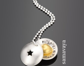 Baptism chain TWINKLE star 925 silver plated christening jewellery engraved children's jewellery heart