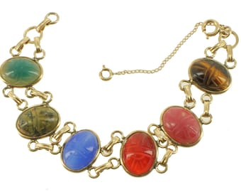 Antique Deco 12K GF Gold Filled Teal Agate Tigers Eye Carnelian Scarab Bracelet