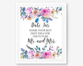 Date jar sign, date night ideas, date night jar, date night sign, date night jar sign, date jar printable, date ideas sign, date night, A117