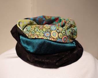 Infinity scarf in black, green, turquoise fabric
