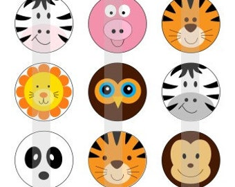 """Cute Animal Faces - one 4x6 inch digital sheet of 1"""" round images for bottlecaps, magnets, glass tiles, pendants"""
