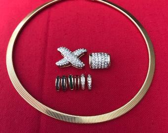 Omega slide etsy vintage gold tone omega necklace multy color interchangeable slide pendant choker necklace 1980s aloadofball Images