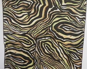 """Silk Scarf ECHO Jungle Cat  Print 22"""" X 23""""  #026"""