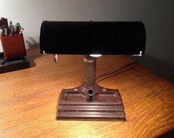 Vintage Antique Bankers/Barrister Desk Lamp with metal shade and Bakelite Base