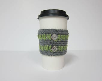 Cup Cozies with Buttons, Grey and Green Cozy, Crocheted Cozies, Button Cozy, Coffee Cozy, Coffee Cup Sleeve, To Go Cup Cozy, Cozy for Cup