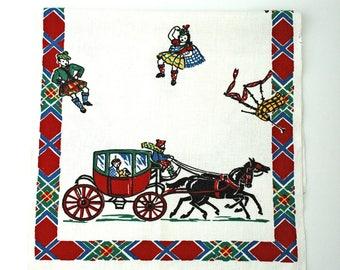 Vintage Startex Tea Towel, Dancers, Bag Pipes, Kilts, Carriage, Horses, St. Patrick's Day, Unused