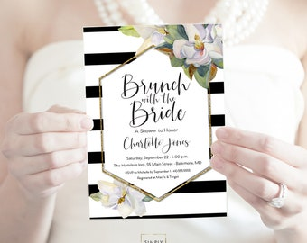 Brunch with the Bride Southern Bridal Shower Invitation - White Magnolia Faux Gold Foil Watercolor Black and White Stripes Printable