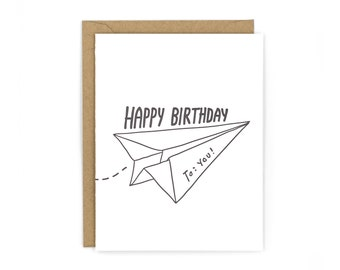 Paper Airplane Letterpress Card