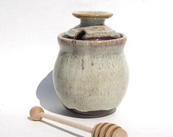 Honey Pot with Dipper - Coffee Latte Glaze