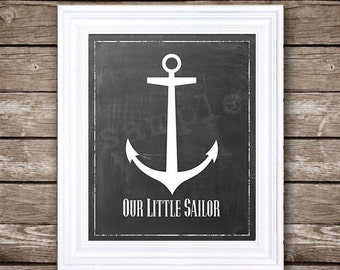 Our Little Sailor - Anchor on Chalkboard - Instant Digital Download in 8x10""