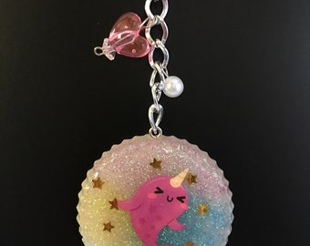 Cute Narwhal Resin Keychain