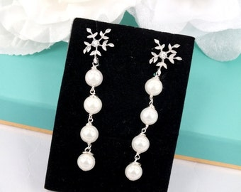 Shell Pearl and Matte Silver Flower Earrings