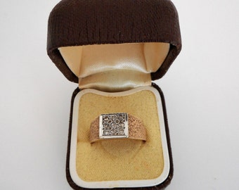 Vintage 1970s 9 Carat Gold Diamond English Ring. Gents Mid Century Modern Wide Band Ring. Unisex Pinky Wedding Ring. Size 9.75 US UK Size T