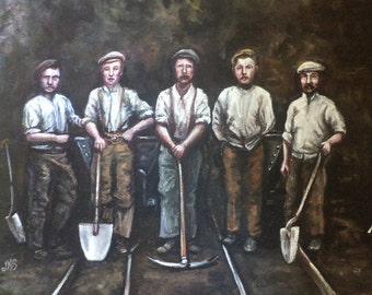 Navvies, Original Painting, Laborers, Work, Digging a Hole, Civil Engineering, Victorian Era, Group Portrait, Boots, Shovel, Pick, Workers