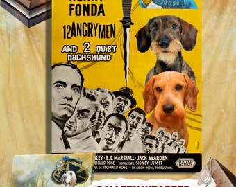 Dachshund Vintage Poster Canvas Print  - 12 Angry Men Movie Poster  Perfect DOG LOVER GIFT Gift for Her Gift for Him Home Decor